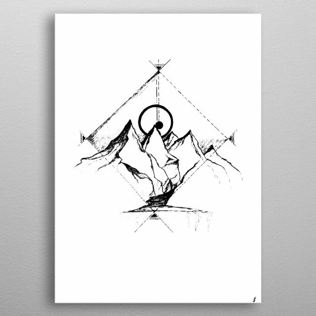 Abstract mountain view  metal poster