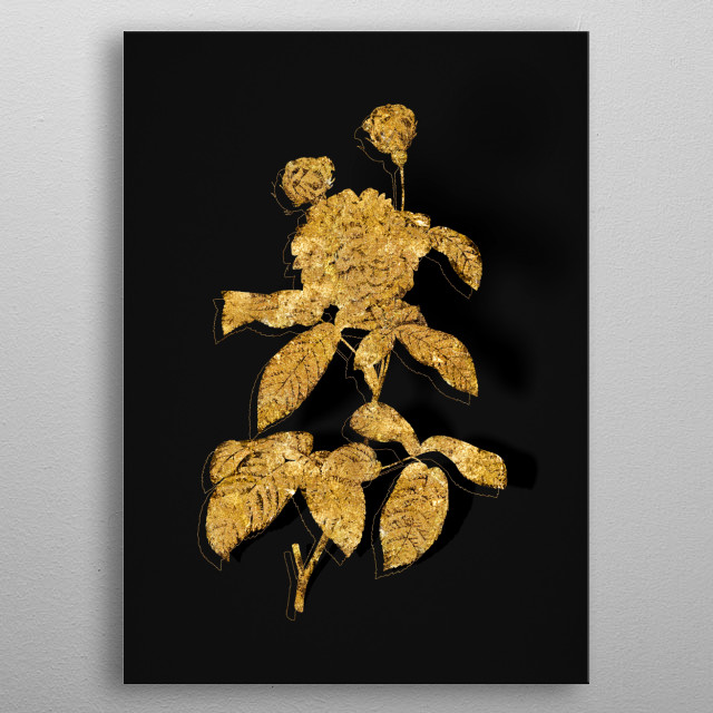 Abstract Botanical in GOLD!!! Digital render, gilded and outlined in sparkly glitter on black. Metallic illustration.  metal poster