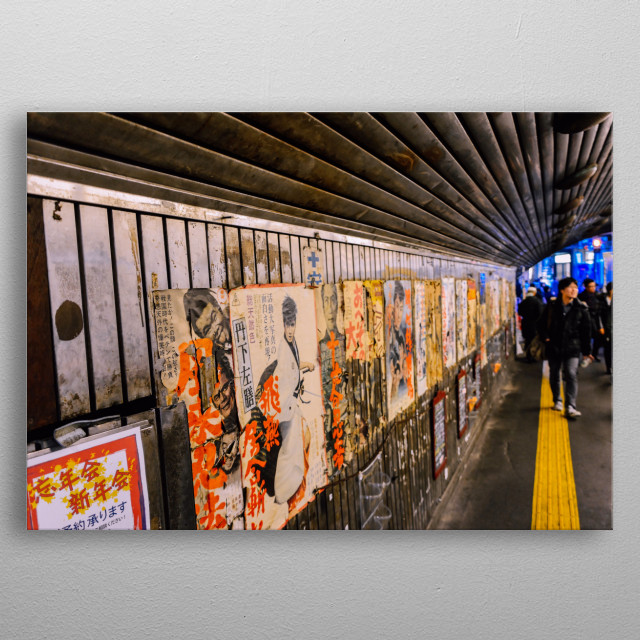 The underbelly of Tokyo Yurakcho district runs through endless cyberpunk tunnels and passageways linking the streets and the city below. metal poster