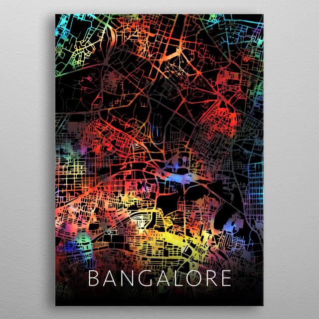 Bangalore City Street Map India metal poster