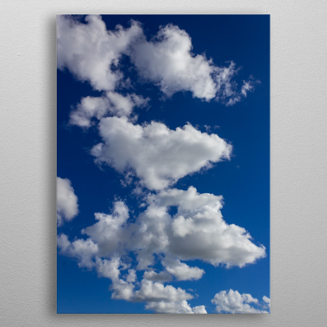 blue sky and white clouds metal poster