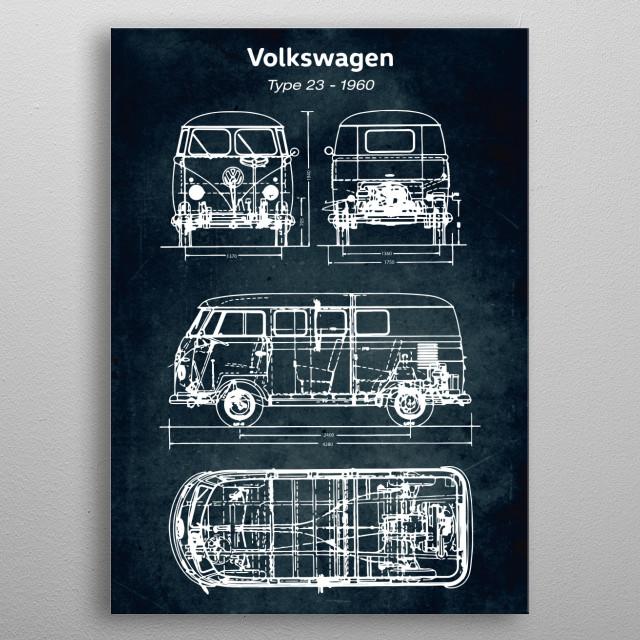 Car blueprint metal poster