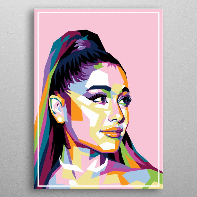 Colorful ariana grande metal poster