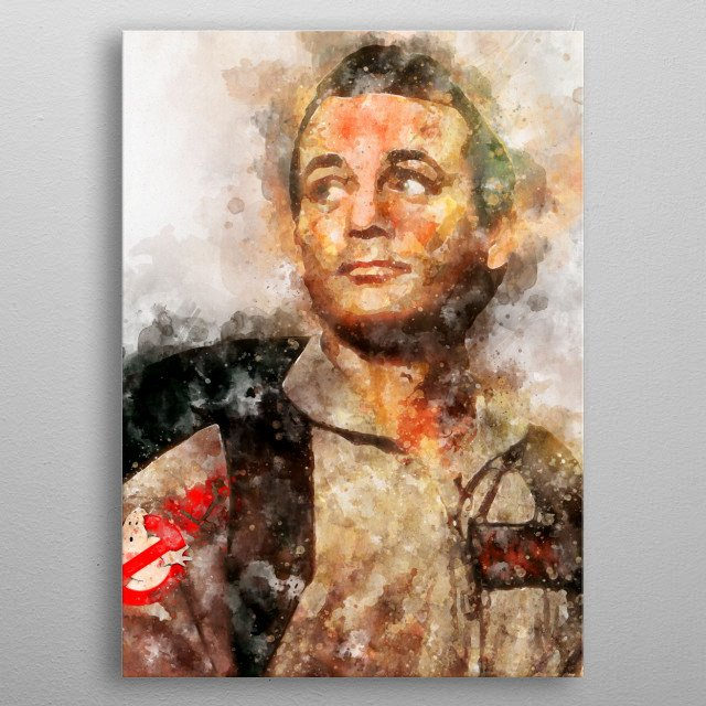 A watercolour of Bill Murray metal poster