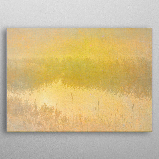 A rural winter scene of the English countryside with reeds and a small river with the sun rising through mist. metal poster