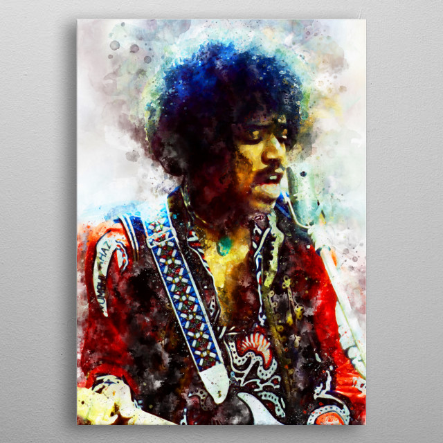 Jimi Hendrix Print on Metal metal poster