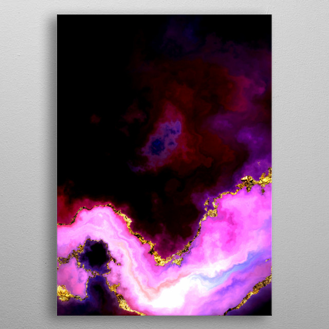 Set 2 of One of a Hundred Nebulas. Abstract digital illustration of cloud nebulas in space. In prismatic colors and gilded in gold leaf. metal poster