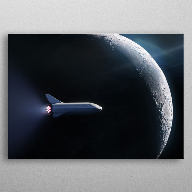 This design is based on an image released by SpaceX under CC0 1.0 Universal license. metal poster