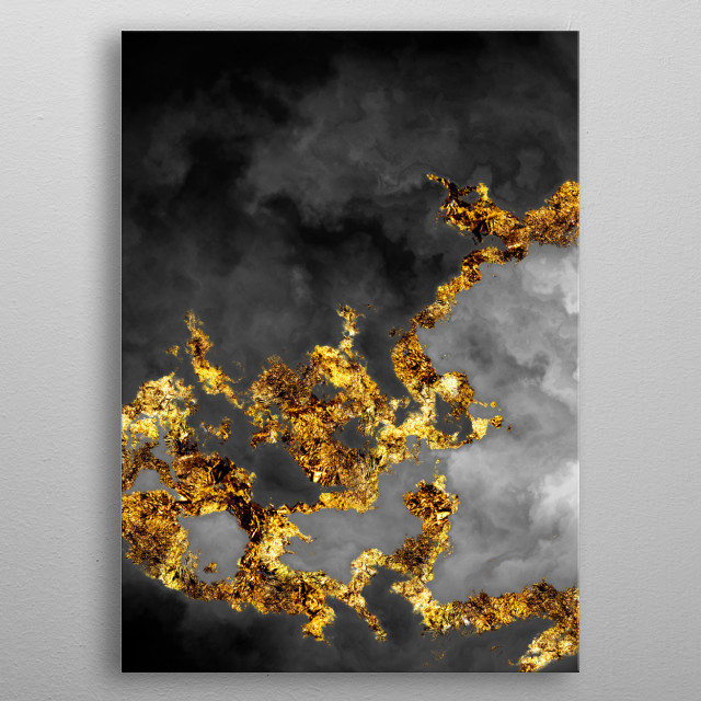Set 3 of One of a Hundred Nebulas. Abstract digital illustration of cloud nebulas in space. In black and white and gilded in gold leaf.  metal poster