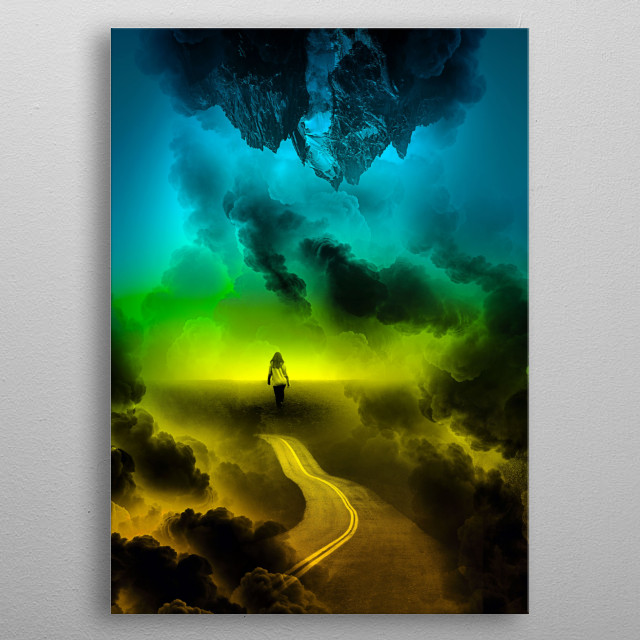 A Psychedelic Girl walking trough her future self a colorful imaginary mountain landscape! metal poster
