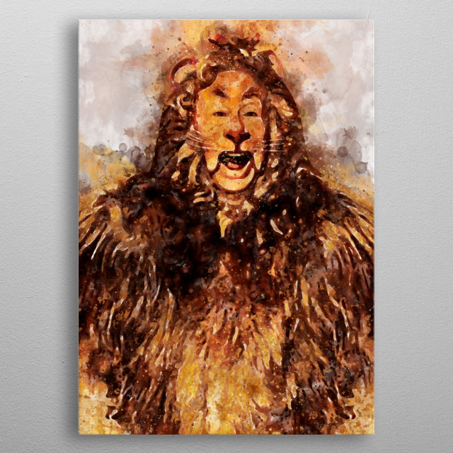 Watercolour of The Cowardly Lion metal poster