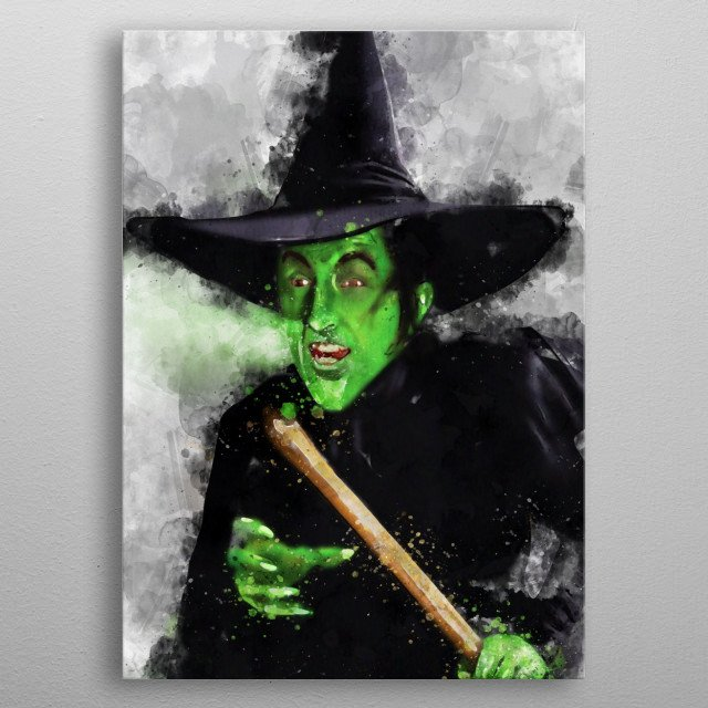 Watercolour of The Wicked Witch of the West metal poster