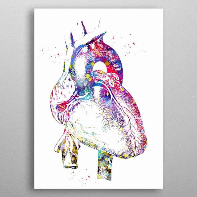 Human Heart, watercolor, medical art, heart poster,  heart anatomy art ,surgery anatomical heart metal poster