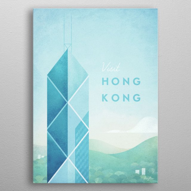 Minimal travel poster of Hong Kong by artist Henry Rivers. metal poster