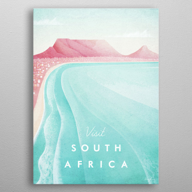 Minimal travel poster of Cape Town, South Africa by artist Henry Rivers. metal poster