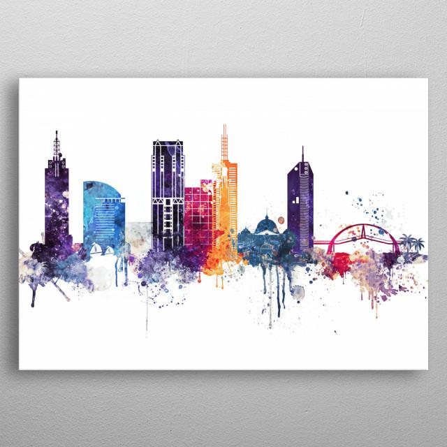 Watercolor skyline art print of Melbourne, Australia. metal poster