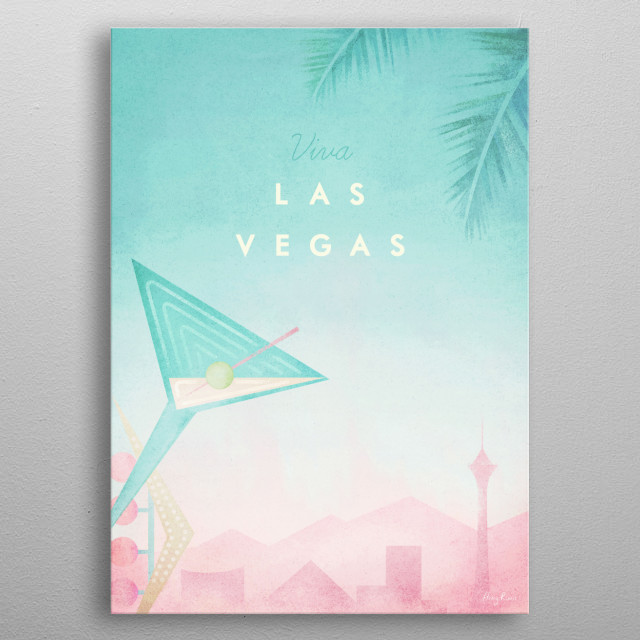 Minimal travel poster of Las Vegas, Nevada by artist Henry Rivers. metal poster