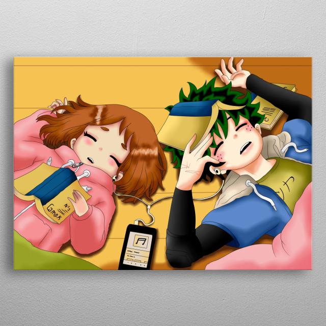 es una ilustración de dos planos. inspirada en dos personajes del anime boku no hero academia .son uraraka ochaco e izuku midoriya  metal poster