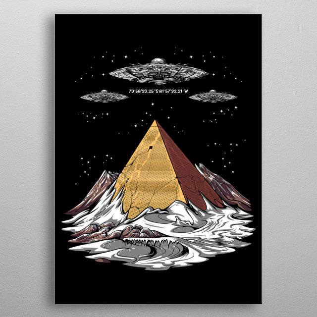 Egyptian Pyramid Alien UFO metal poster for alien lovers. metal poster