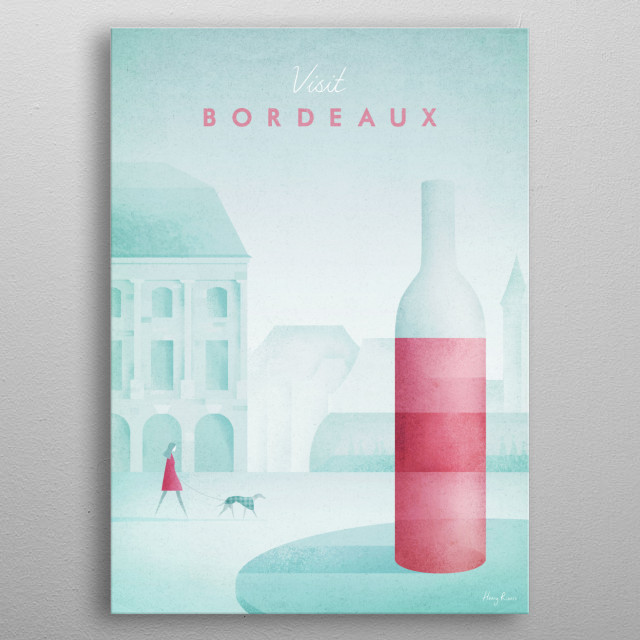 Minimal travel poster of Bordeaux, France by artist Henry Rivers. metal poster