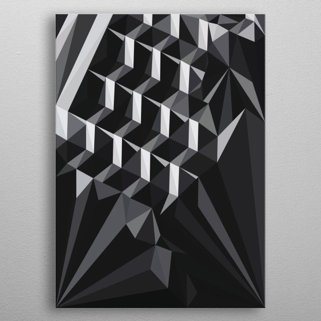 Illustration of an Urban Hotel with the cover of tree tops looking up.  metal poster