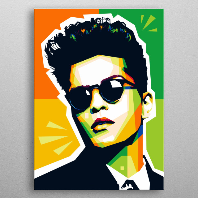 Popart illustration of an famous musician, Bruno Mars. metal poster