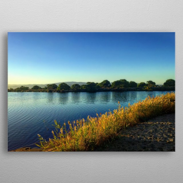 Next to the sea, a beautiful salt pond, surrounded by trees, reeds, different plants that make the happiness of the wild local fauna. metal poster
