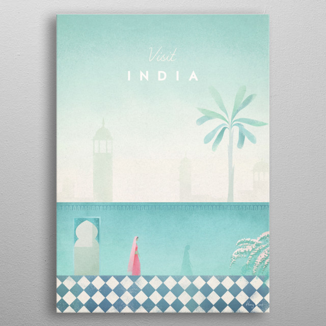 Minimal travel poster of India by artist Henry Rivers. metal poster