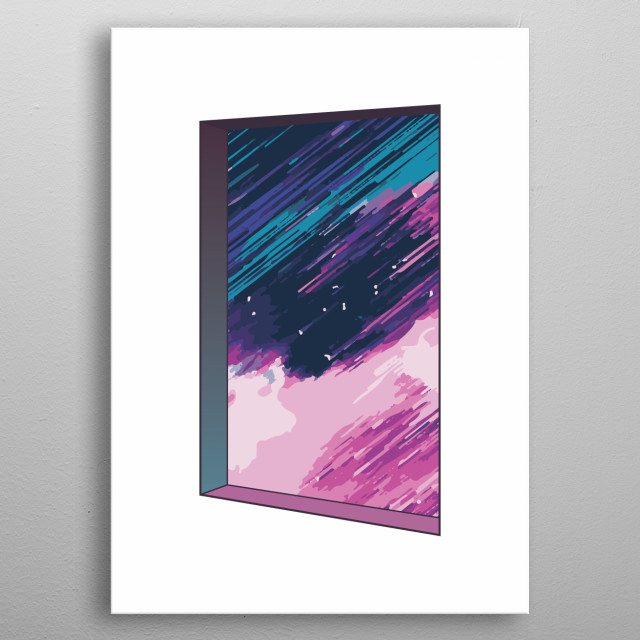 Digital illustration of a dreamy window into the galaxy universe, stars and cosmos metal poster
