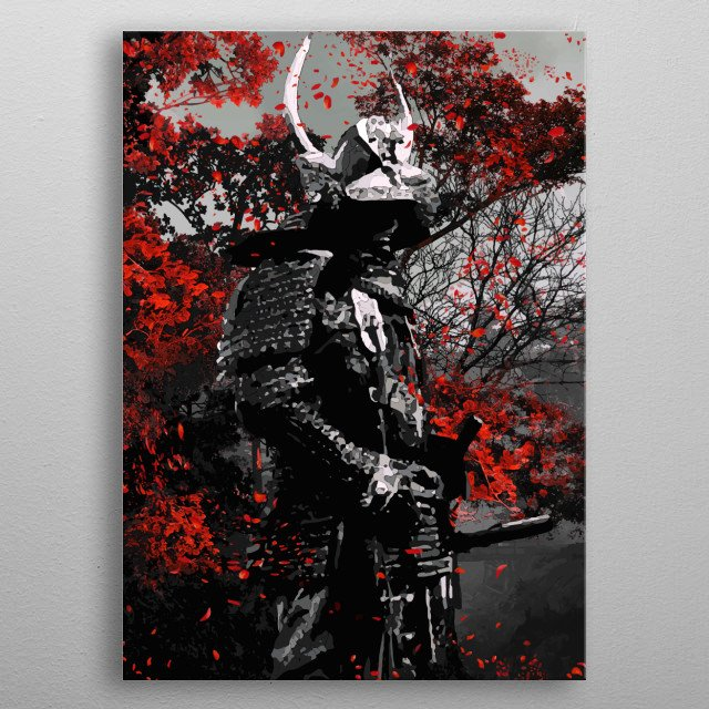 Oni red samurai with sakaura flowers edo paint ink style part of collection samurai red flowers metal poster