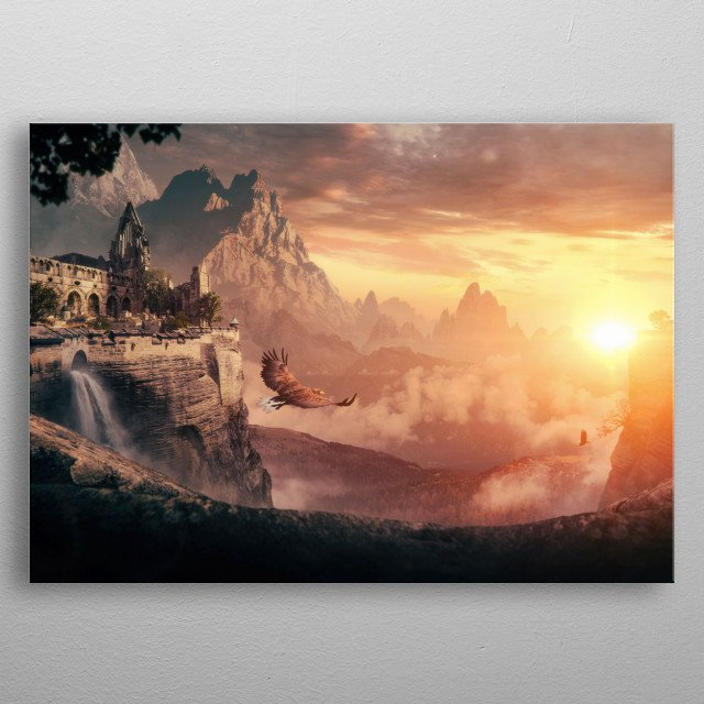 Fantasy landscape image dedicated to all warm summer mornings. metal poster