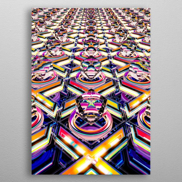 Vibrant and Energetic display of a futuristic XnO pattern with a retro touch metal poster