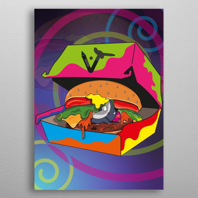 Comic illustration of my little shark, represents the revenge of the burgers. Is one of the illustrations in my food shark collection. metal poster