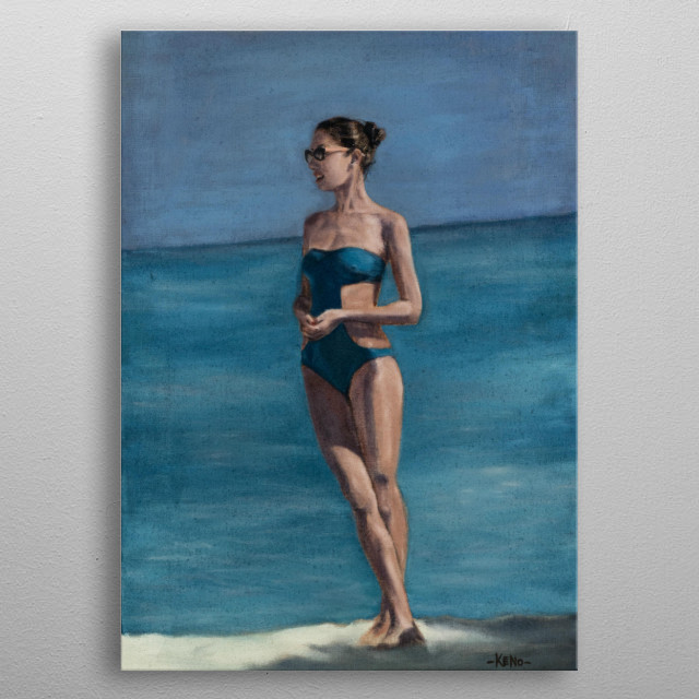 Oil on canvas  Inspired by women beauty and good time by the sea metal poster