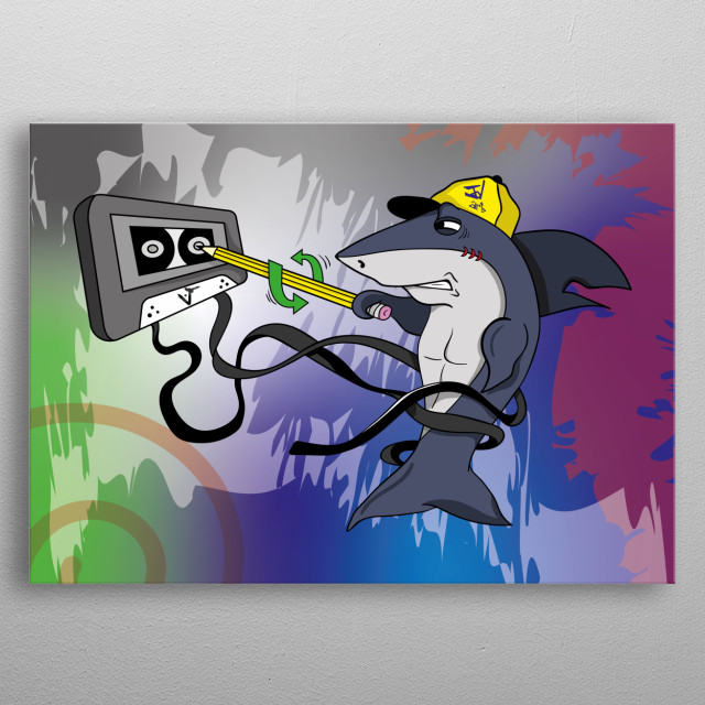 The little shark tries to understand how to make an old music cassette work, without good result. metal poster