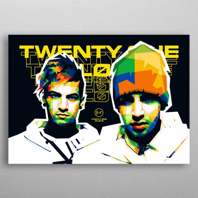 Popart illustration of an American musical duo, Twenty One Pilots - Josh Dun & Tyler Joseph. metal poster