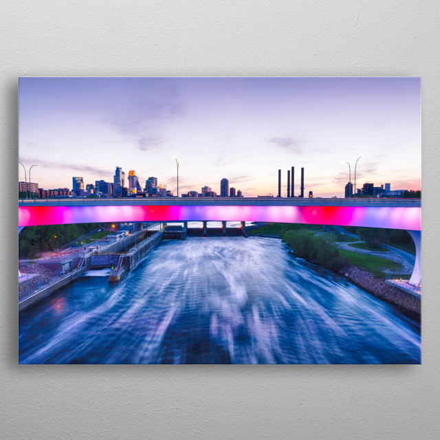 This is an image of the rebuilt Minneapolis Minnesota I-35W Mississippi River bridge light up as red white and blue theme. metal poster
