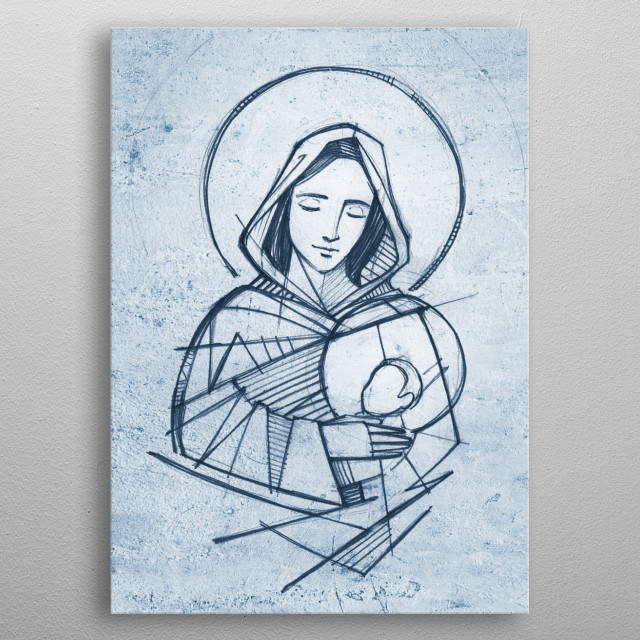 Hand drawn vector illustration or drawing of Virgin Mary and baby Jesus metal poster