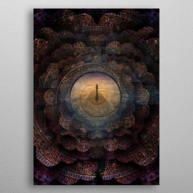Figure of man walks on a stone's road leading to another world. Indian mandala and spiral of time metal poster