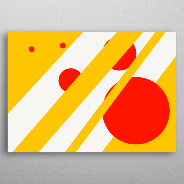 Abstract geometric shapes intertwined on a white background metal poster