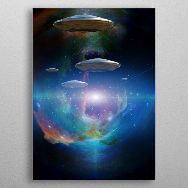 Flying saucers in colorful universe. Space travelers metal poster