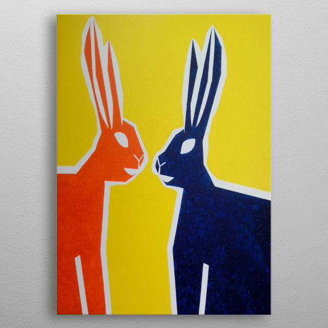 The design is of two rabbits and is a photo of a painting, the forth of five in the Popular Pets Collection by Abnohr. metal poster