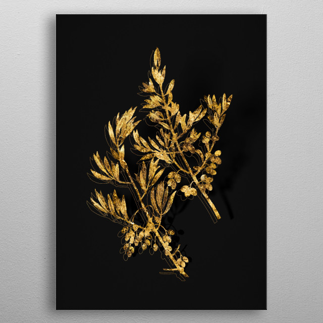 Botanical drawing in GOLD!!! Digitally rendered, gilded and outlined in sparkly glitter on black.  metal poster