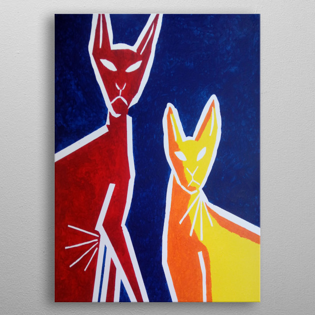 The design is of two hairless cats and is a photo of a painting, the second of five in the Popular Pets Collection by Abnohr. metal poster