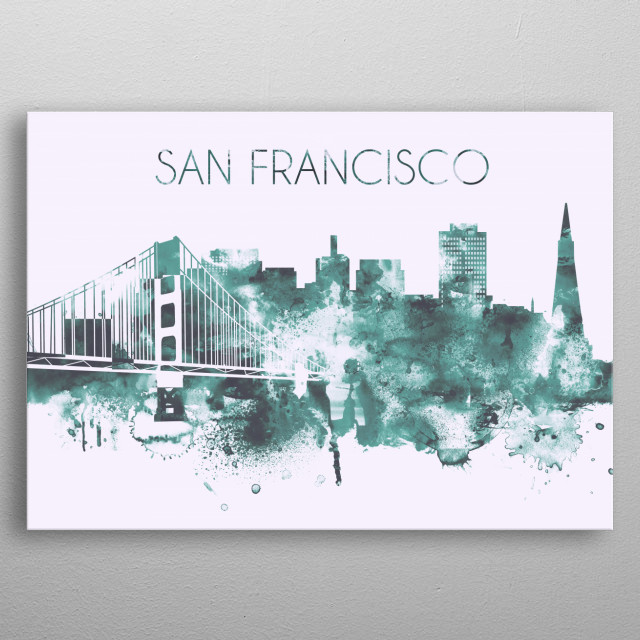 Watercolor skyline art print of San Francisco, California. Decorate your space with this design & find daily inspiration in it. metal poster