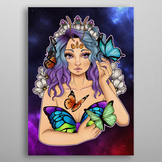 """The inspiration on this artwork is from a beautiful butterfly that arise a question """"What if there was a queen?"""" metal poster"""
