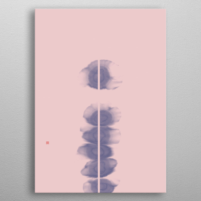Abstract digital work in blue and pink, based on an original Sumi-e painting (Japanese ink and wash).  metal poster