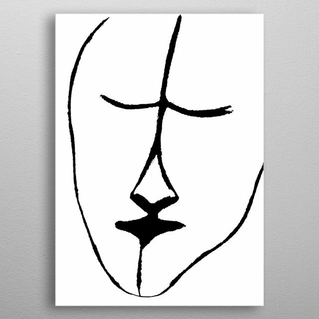 This is originally a charcoal piece of a sleepy face. metal poster
