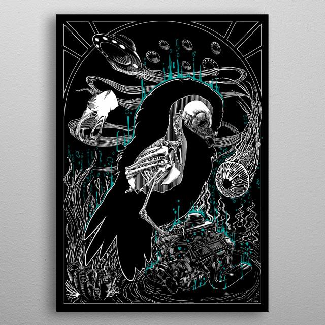 Meditative owl, black and white illustration. metal poster