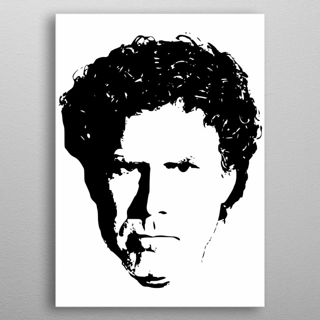This is a minimalistic black & White pop art design of famous actor and comedian Will Ferrell. metal poster